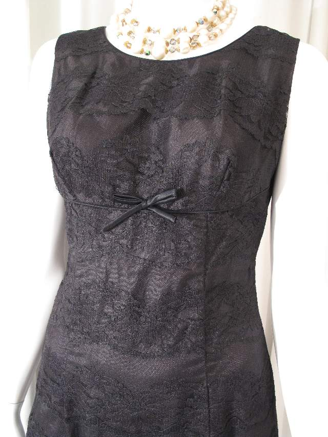 1960 s black lace fitted vintage shift dress